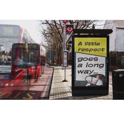 TfL film graphics in a bus stop